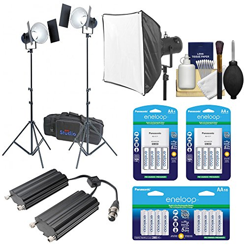 Flash Twin Softbox Kit (RPS Studio RS-5520 CooLED 50W High Power Light Kit with (2) Heads + (2) Reflectors + (2) Barn Doors + (2) Light Stands + Case + Softbox + Twin Battery Case + 24 AA Batteries & Charger Kit)