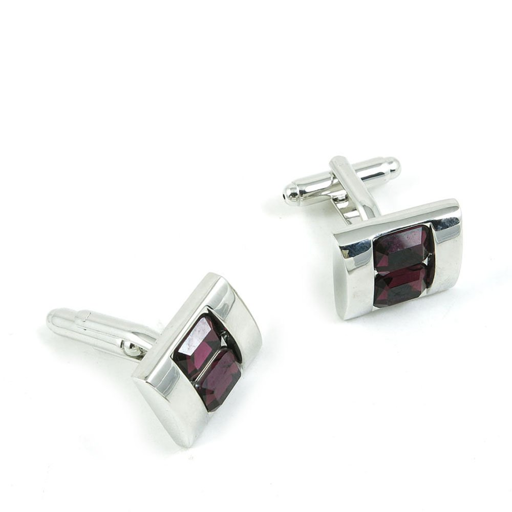 50 Pairs Cufflinks Cuff Links Fashion Mens Boys Jewelry Wedding Party Favors Gift PDL017 Double Deep Pink Crystal