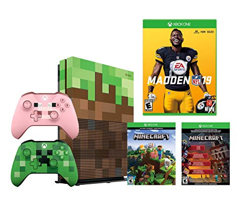 Microsoft Minecraft Limited Edition Xbox ONE S 1TB Console and Madden NFL 19 Bundle: with Minecraft Creeper and Pig Edition Wireless Controllers