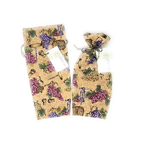 """(Winefest Grapes Corkscrew Fabric - Reusable Drawstring Gift Bag   Eco-Friendly Alternative to Paper Giftwrap for Wine Bottle   Weddings   Showers   Cotton Cloth, Self-Faced Lining, 13.25""""x6"""
