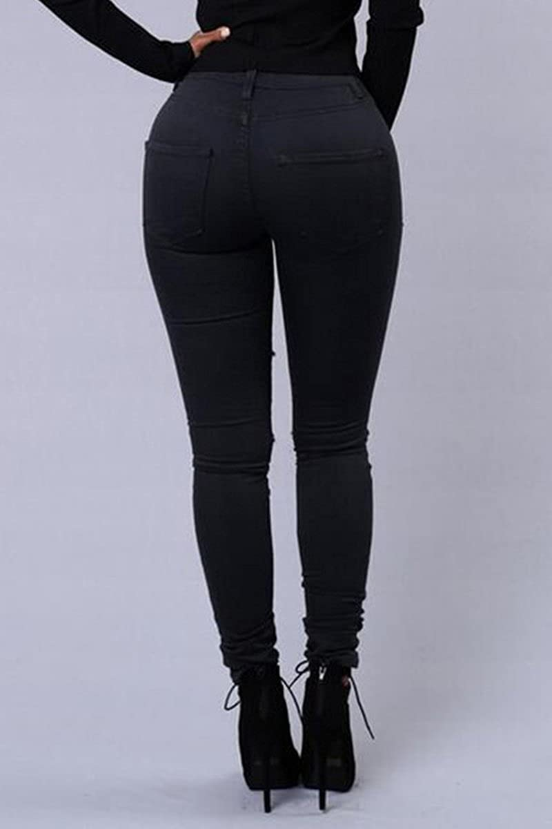Donne Strappati Pantaloni Jeans Strappati i Pantaloni Scarni Stretch Slim Matita