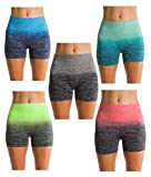 Homma Womens Seamless Compression Ombre Yoga Shorts Running Shorts Slim Fit