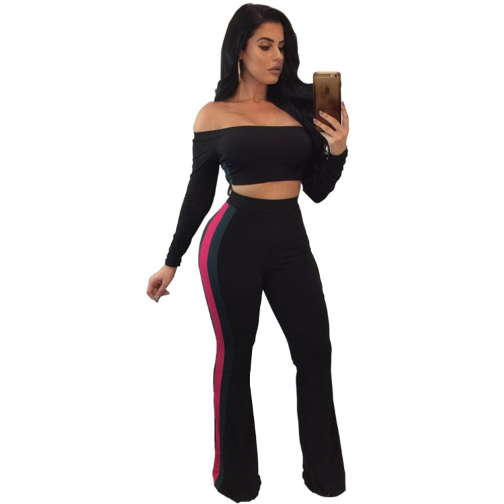 Womens Off The Shoulder Long Sleeve Crop Top Long Pants Set Two Piece Outfits Black XX-Large