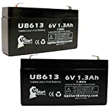 2-Pack UB613 Universal Sealed Lead Acid Battery (6V, 1.3Ah, F1 Terminal, AGM, SLA) Replacement - Compatible With LEOCH DJW6-1.2, FEDERAL SIGNAL INFORMER, DATEX-OHMEDA AS3, QUANTUM BANTAM, OHMEDA 3700