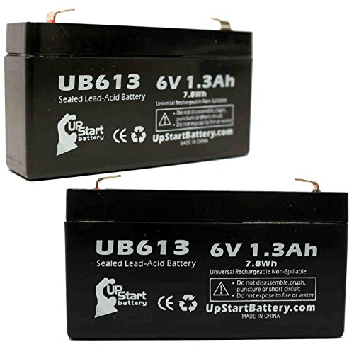 2x Pack - QUANTUM BANTAM Battery - Replacement UB613 Universal Sealed Lead Acid Battery (6V, 1.3Ah, 1300mAh, F1 Terminal, AGM, SLA) - Includes 4 F1 to F2 Terminal Adapters (Bantam Battery Quantum)