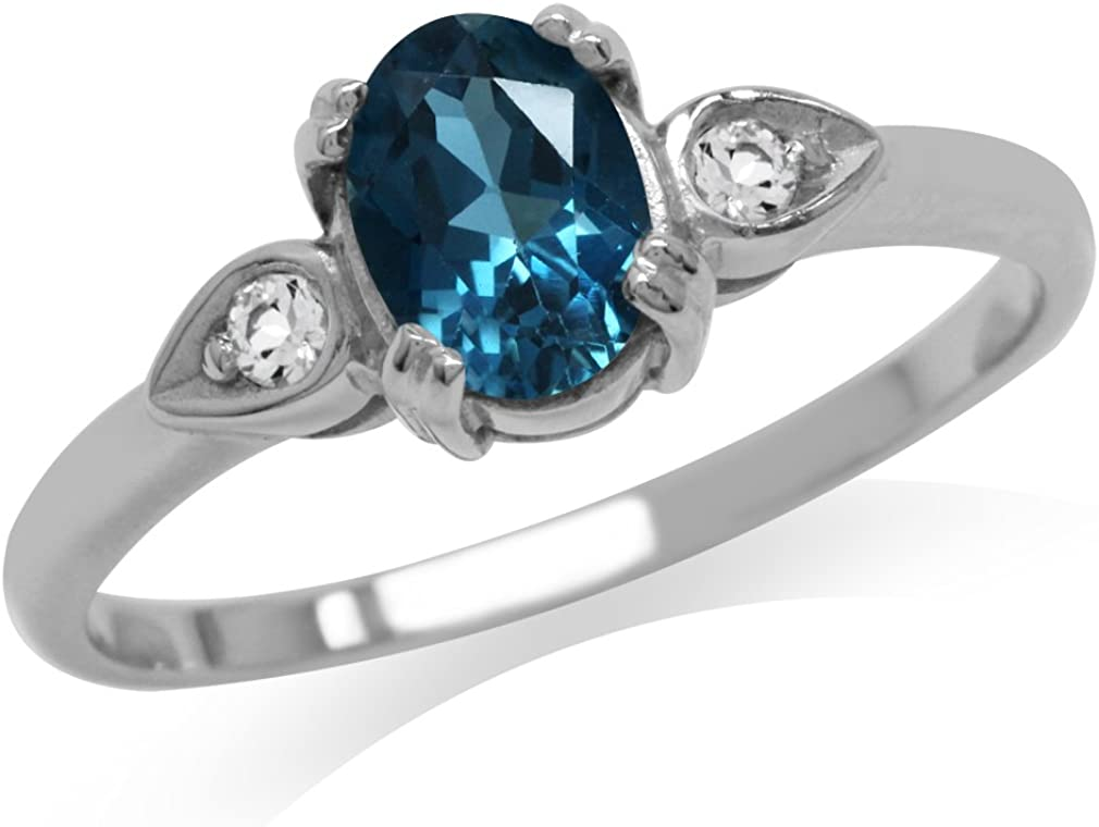 Pear Shape Natural Swiss Blue Topaz Diamond Three Stone Engagement Promise Wedding Ring 925 Sterling Silver Or 14K Solid Rose Gold Ring