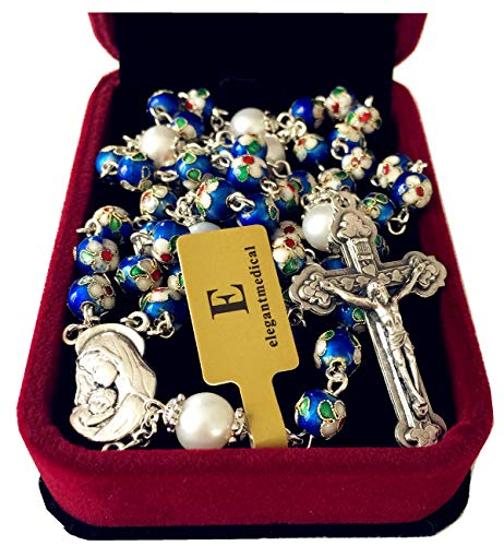 elegantmedical Handmade Nice Blue Cloisonne & 10mm Pearl Beads Rosary Necklace Italy Cross Catholic Gifts