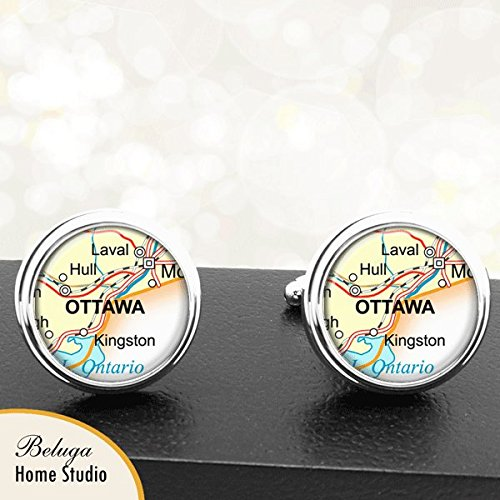 Map Cufflinks Ottawa Canada Maps Handmade Cufflinks Groomsmen Wedding Party Fathers Dads Men Graduation Gifts For -