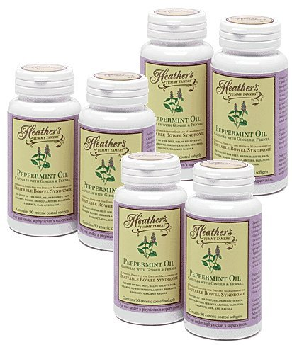 Peppermint Oil Capsules BULK KIT (6 bottles) for Irritable Bowel Syndrome ~ Heather's Tummy Tamers by Heather's Tummy Care