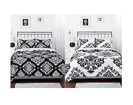 Amazon.com: Black White Damask Reversible Girls Teens Full ...