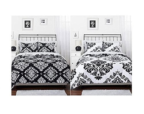 Amazoncom Black White Damask Reversible Girls Teens Full Comforter