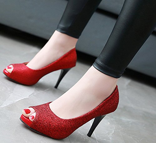 Idifu Womens À La Mode Peep Toe Slip Sur Talon Haut Talon Glitter Dames Pompes Chaussures Rouge