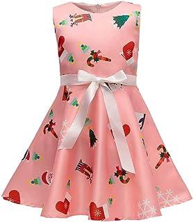 SUMTTER Vestito Natale Bimba Babbo Stampato Abito Bambina Principessa Abiti Ragazza Cerimonia Eleganti 1-7 Anni per la Festa di Natale, Prestazione, Mostrare
