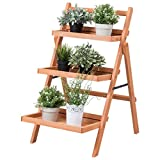 Giantex 3-Tier Plant Stand Wood Outdoor Indoor Multifunction Foldable Plant Racks Display Shelf For Sale