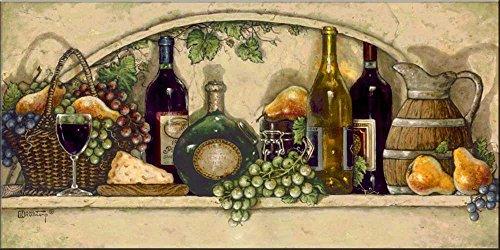 Ceramic Tile Mural - Wine Fruit and Cheese Pantry II- by Janet Kruskamp - Kitchen backsplash/Bathroom Shower