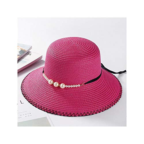 Summer Flat Brim Straw Hat Pearl Beadings Women Sun Shading Sunscreen Jazz Hat Outdoor Beach Hats,8,Size 56-58Cm
