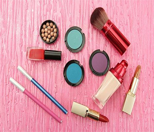 Leyiyi Make Up Backdrop 10x8ft Photography Background Pink Tone Cosmetic Lipsticks Nail Polish Eye Shadow Blush Brush Concealer Eyeliner Volgger Live Video Girls Ladies Photo Props