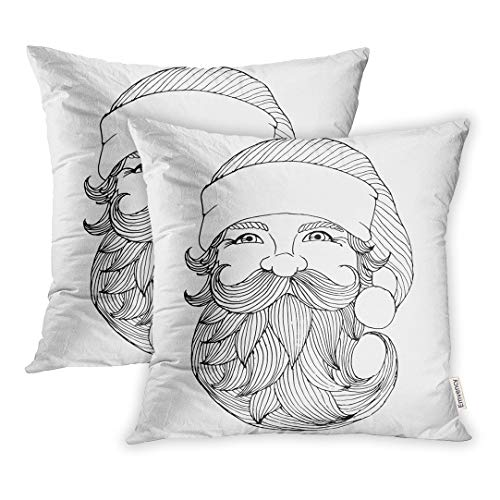 (Emvency Set of 2 Throw Pillow Covers Decorative Cases Drawing Santa Claus Portrait Engraving Christmas Vintage 20x20 Inch Cover Cushion Pillowcase Square Case Print)