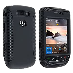 eForCity Hybrid Double Layer Gel Rubber Case Cover Compatible with BlackBerry Torch 9800/9810 - Retail Packaging - Black
