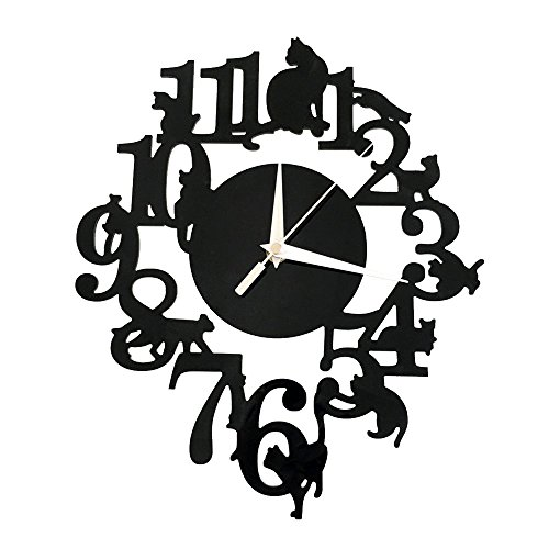 Happy Hours - Creative Wall Clocks / Home DIY Decoration Watch / Cat on Frame Living Room Mirror 3D Wall Design