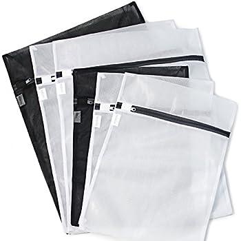 6 Pack (3 Medium & 3 Large) - HOPDAY Delicates Mesh Laundry Bag, Bra Lingerie Drying Wash Bag ( Black & White) with Zipper