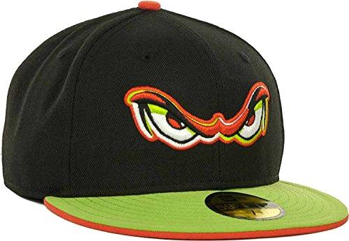 Lake Elsinore Storm Eyes Logo Custom Color New Era MiLB 59Fifty Fitted Cap Hat (Black-Green-Orange, 7 5/8)