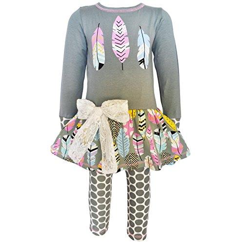 AnnLoren Tween Girls 13/14 Boutique Feathers Tunic & Polka Dot Legging ()