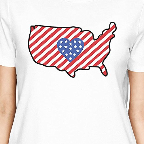 Usa Map shirt Femme Taille T White Unique Printing Shirt Courtes American Flag 365 Manches TRw8BzxBq