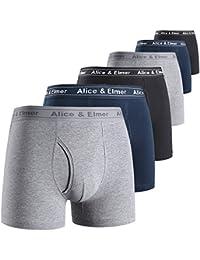 Men's Underwear Tagless Soft Stretch Cotton Boxer Briefs(1-6Pack)