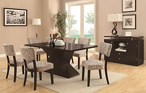 Inland Empire Furniture's Libby 7 Piece Hourglass Table & Upholstered Chair Set with (Birch Dining Room Server)