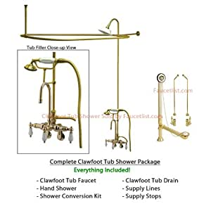 securing the rods new bathroom faucets   Amazon.com: Polished Brass Clawfoot Tub Faucet Shower Kit ...