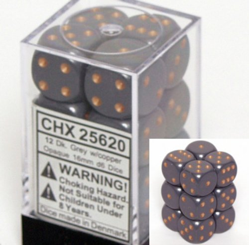 Dark Grau Opaque Dice 16mm D6 Set of 12 [Toy] by Chessex