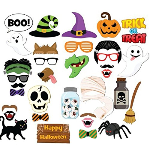 Happy Halloween Party Favors Photo Booth Props DIY Kits - 35 pcs