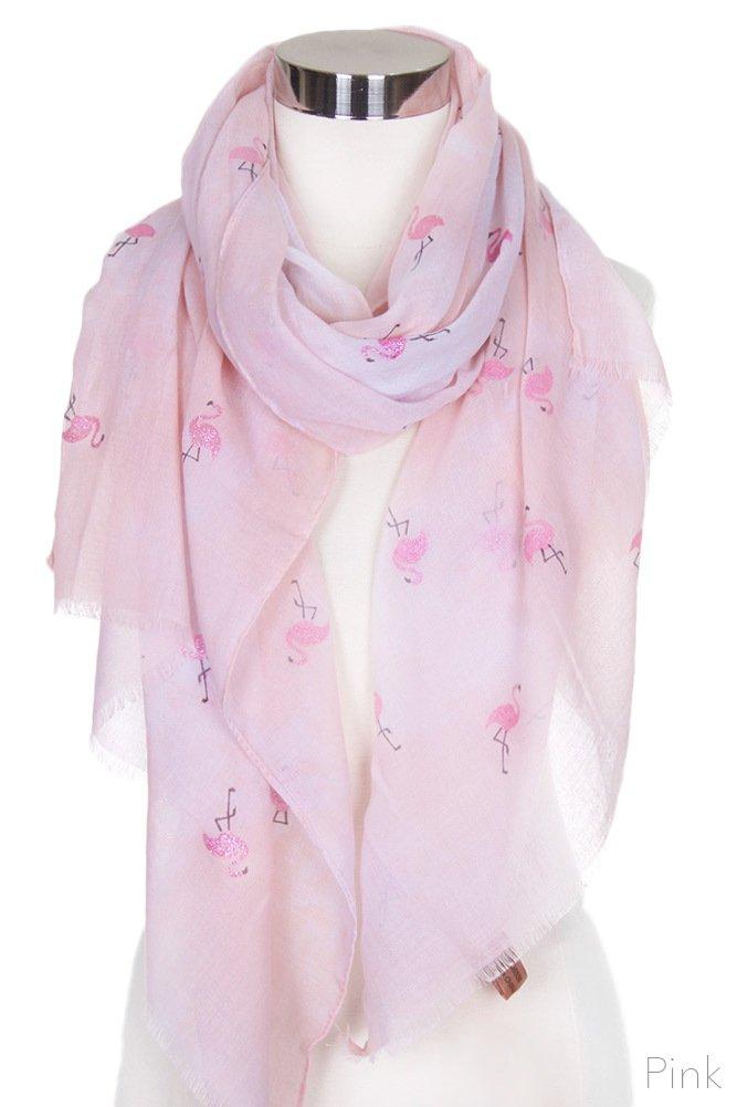 ScarvesMe Fashion Pink Glitter Flamingo Tie Dyed Print Oblong Scarf (Pink)