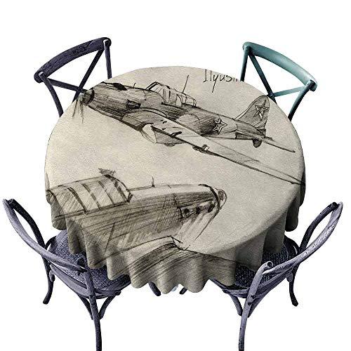 (wwwhsl Round Tablecloth 70 inch Airplane,Hand Drawn Series Soviet Military Enginery Jets Flights World War Aviation Sketch,Black Ecru Washable Tablecloth Durable )