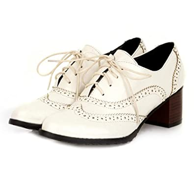 20a3caca533 GIY Brogue Chunky Block Heel Oxfords Shoes Wingtip Vintage Lace-up Casual  Dress Oxford Pump