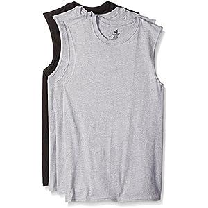 Hanes Men's Sport Cool Dri Sleeveless T-Shirt 4-Pack (Black & Grey Muscle Crew, XX-Large)
