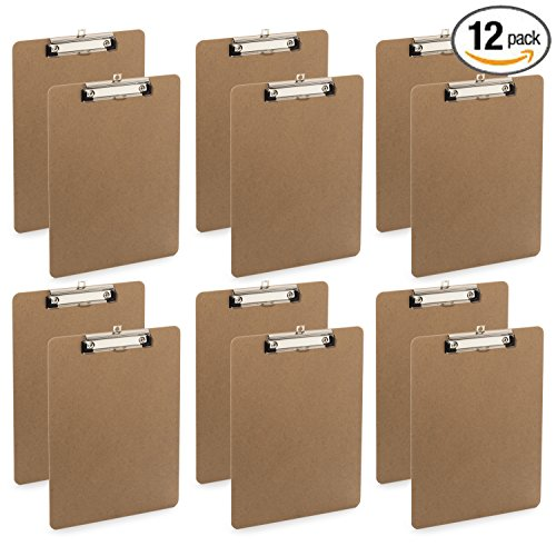 Clipboard Letter Size Low Profile Clip Hardboard Standard Size (Pack of 12)
