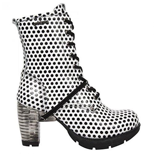 New Rock Laarzen M.tr001-r380 Gothic Hardrock Punk Damen Stiefelette Weiß