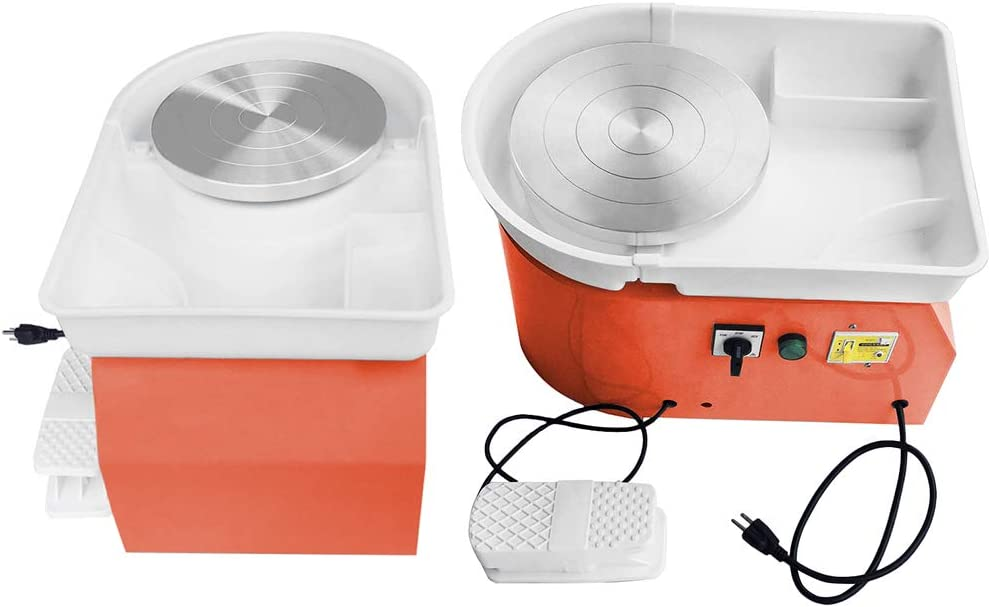 ZXMOTO 9.8//25cm Electric Pottery Wheel Pottery Ceramic Forming Machine with Adjustable Feet Lever Pedal for Work Clay Art Craft DIY Tool 350W Orange