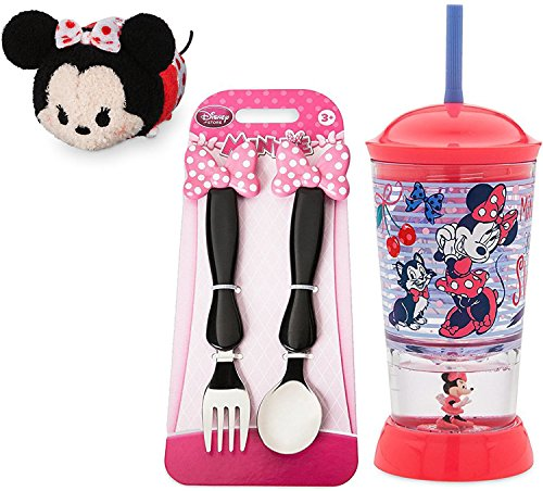 Rebel Bow Tie (Minnie Mouse Tsum Tsum + Glittering Drinking Cup with Straw Tumbler Disney Fork & Spoon Pink Bow Flatware Set + Mini Tsum Tsum Polka Dot Minnie Plush Character Playset)