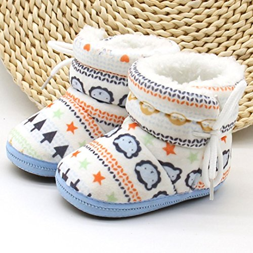 Babyschuhe Longra Baby Stiefel Schuhe weiche Sohle Stiefel Prewalker warme Lauflernschuhe Krippeschuhe (12CM, 1-12 Monate Baby) Blue