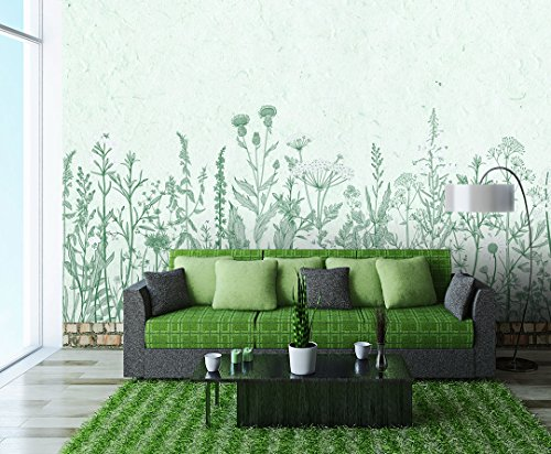 Large Wall Mural Retro Style Flowers and Plants of Various Kinds Vinyl Wallpaper Removable Wall Decor