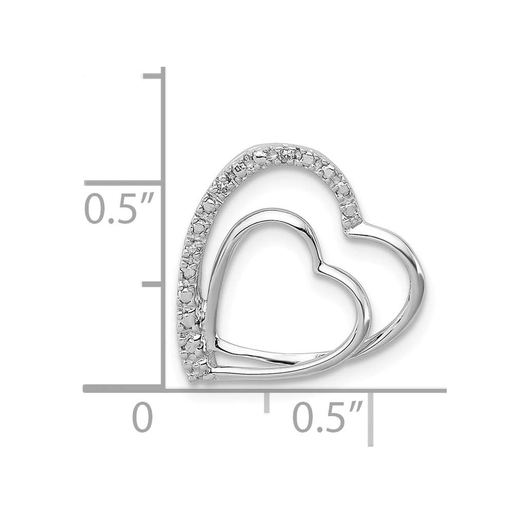 Jewelry Stores Network Sterling Silver Diamond Double Heart Pendant 16x16mm