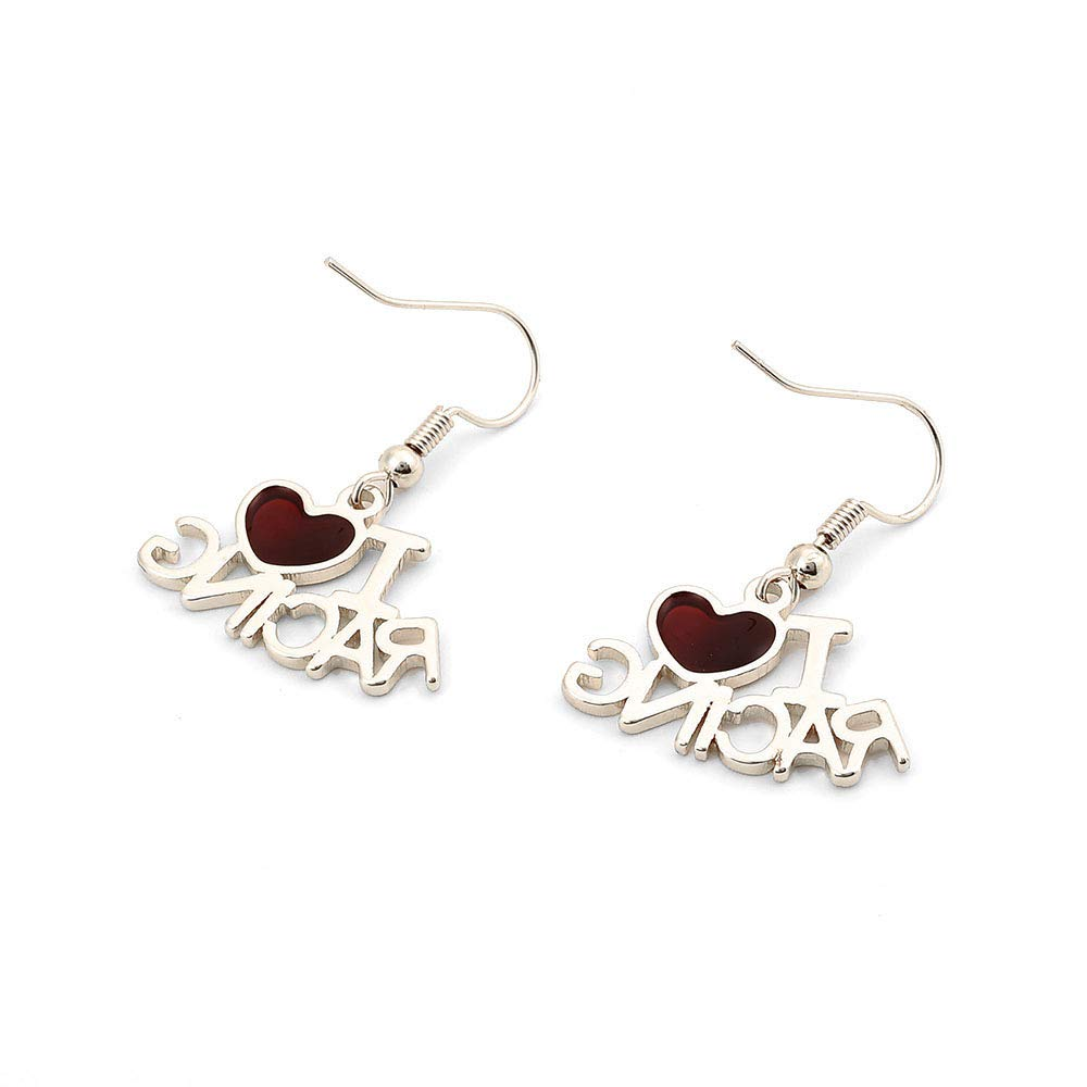 TUSHUO I Love Racing Earring Agate Red Heart Earbob Best Jewelry Gift for Women Girls