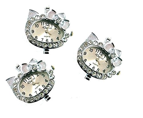 PlanetZia 2pcs Hello Kitty Watch Faces with Rhinestones For Interchangeable Beaded Bands BL-KTYW