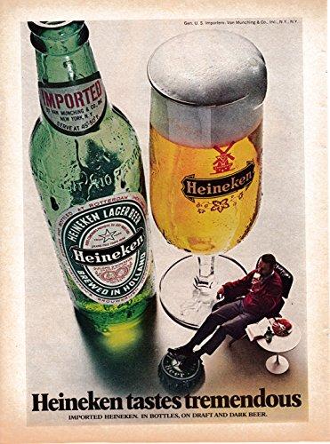 - 1973 Heineken Beer-Bottles+ Draft-Original Magazine Ad-Tastes Tremendous-Holland