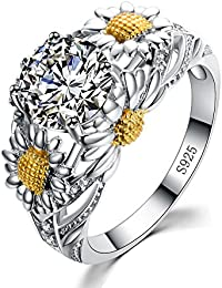 New Round Cz Eternity Style Band ,925 Sterling Silver Sunflower Shape Ring,7CT Engagement Wedding Anniversary Gift
