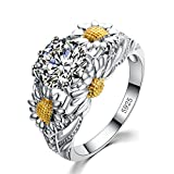 New Round Cz Eternity Style Band ,925 Sterling Silver Sunflower Shape Ring,7CT Engagement Wedding Anniversary Gift (Silver Size 5)