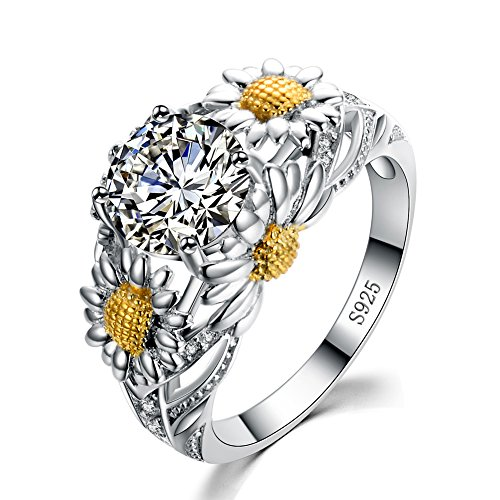 New Round Cz Eternity Style,925 Sterling Silver Sunflower Shape Ring,7CT Engagement Wedding Anniversary Gift (Silver Size 8) by Silver RX